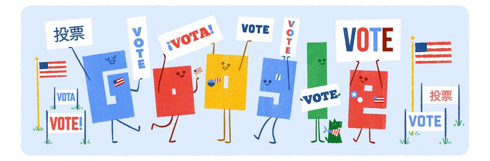 El doodle de Google alusivo a las próximas elecciones y la importancia de votar.